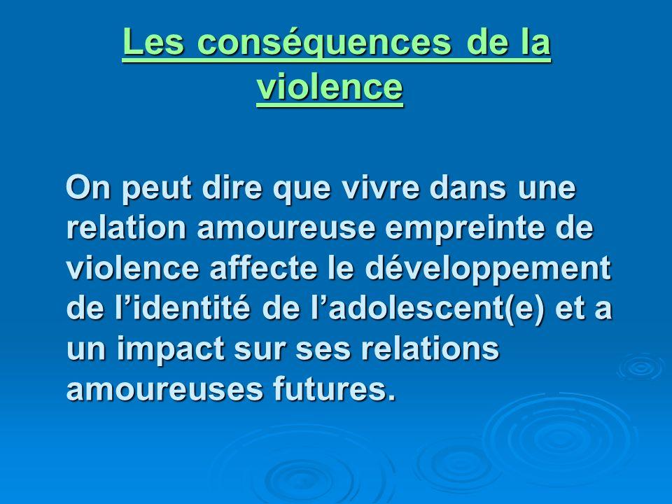 Les conséquences de la violence On peut dire que vivre dans une relation amoureuse empreinte de violence affecte le développement de lidentité de ladolescent(e) et a un impact sur ses relations amoureuses futures.