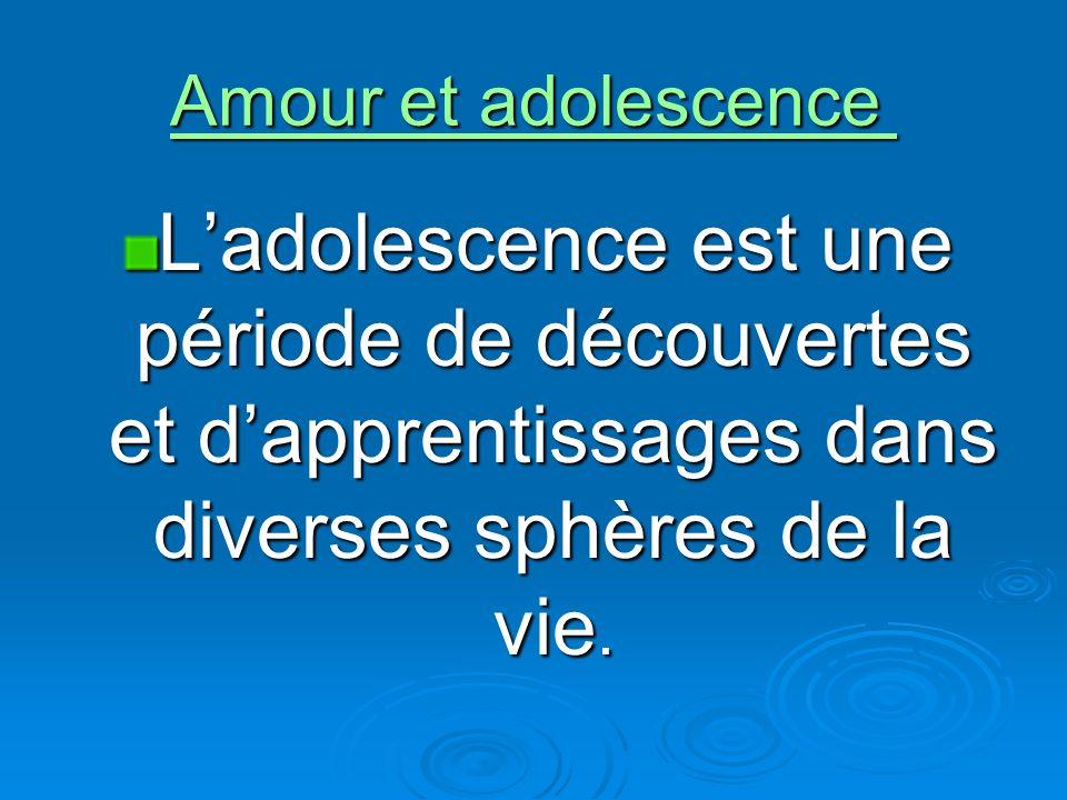 Amour et adolescence Amour et adolescence Ladolescence est une période de découvertes et dapprentissages dans diverses sphères de la vie.