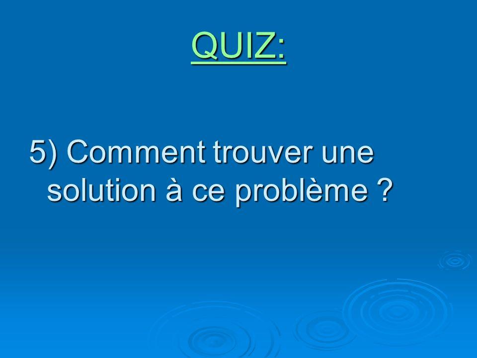 QUIZ: 5) Comment trouver une solution à ce problème ?