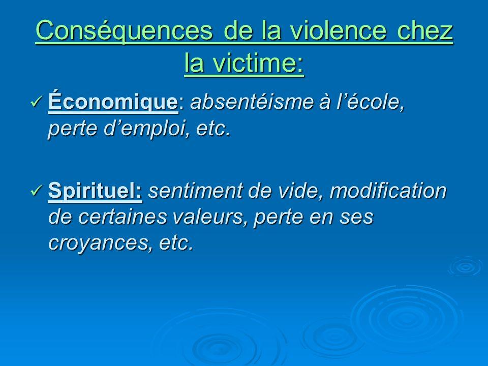 Conséquences de la violence chez la victime: Économique: absentéisme à lécole, perte demploi, etc.