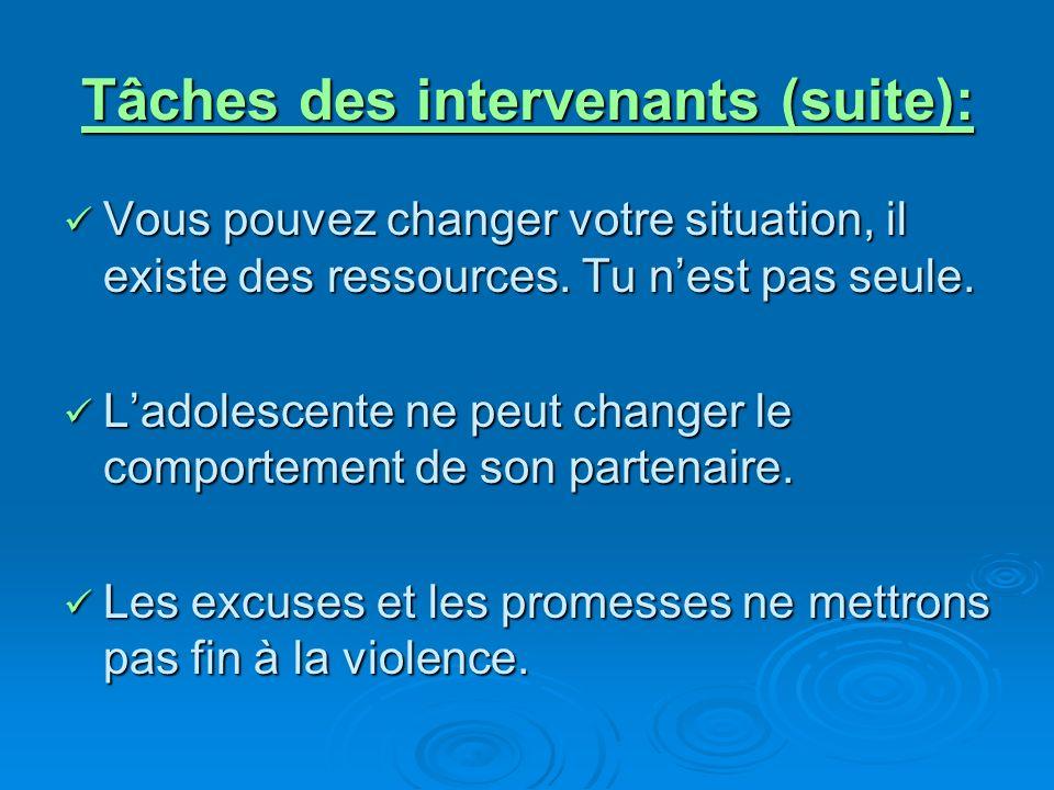 Tâches des intervenants (suite): Vous pouvez changer votre situation, il existe des ressources.