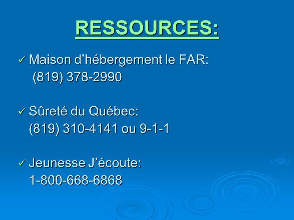 RESSOURCES: Maison dhébergement le FAR: Maison dhébergement le FAR: (819) 378-2990 (819) 378-2990 Sûreté du Québec: Sûreté du Québec: (819) 310-4141 ou 9-1-1 Jeunesse Jécoute: Jeunesse Jécoute:1-800-668-6868
