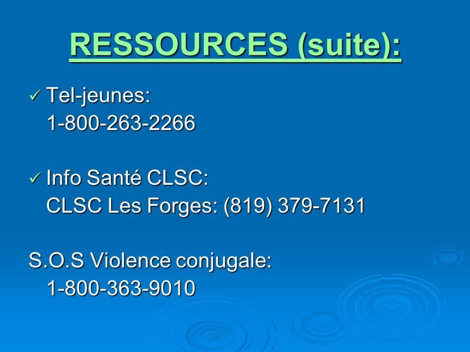 RESSOURCES (suite): Tel-jeunes: Tel-jeunes:1-800-263-2266 Info Santé CLSC: Info Santé CLSC: CLSC Les Forges: (819) 379-7131 S.O.S Violence conjugale: 1-800-363-9010