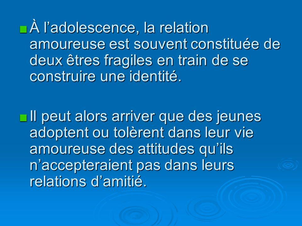 À ladolescence, la relation amoureuse est souvent constituée de deux êtres fragiles en train de se construire une identité.