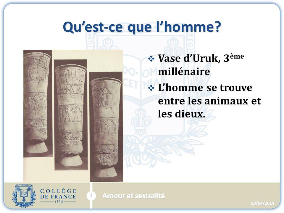 Quest-ce que lhomme. Vase dUruk, 3 ème millénaire Lhomme se trouve entre les animaux et les dieux.