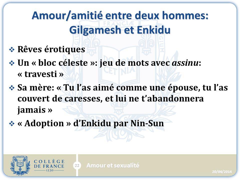 Amour/amitié entre deux hommes: Gilgamesh et Enkidu Rêves érotiques Un « bloc céleste »: jeu de mots avec assinu: « travesti » Sa mère: « Tu las aimé comme une épouse, tu las couvert de caresses, et lui ne tabandonnera jamais » « Adoption » dEnkidu par Nin-Sun 20/04/2014 Amour et sexualité 22