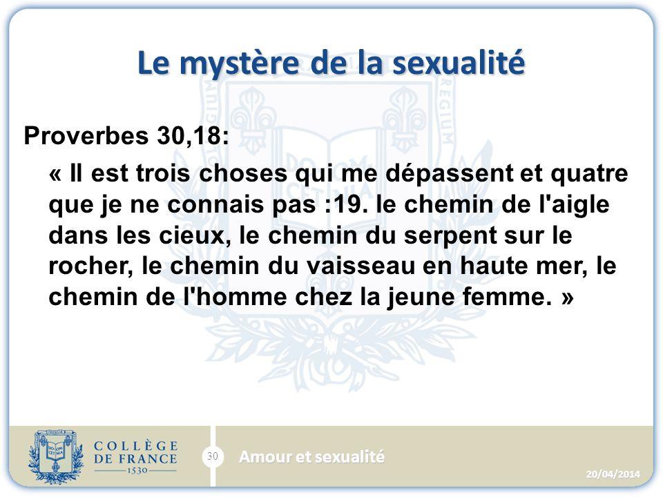 Le mystère de la sexualité Proverbes 30,18: « Il est trois choses qui me dépassent et quatre que je ne connais pas :19.
