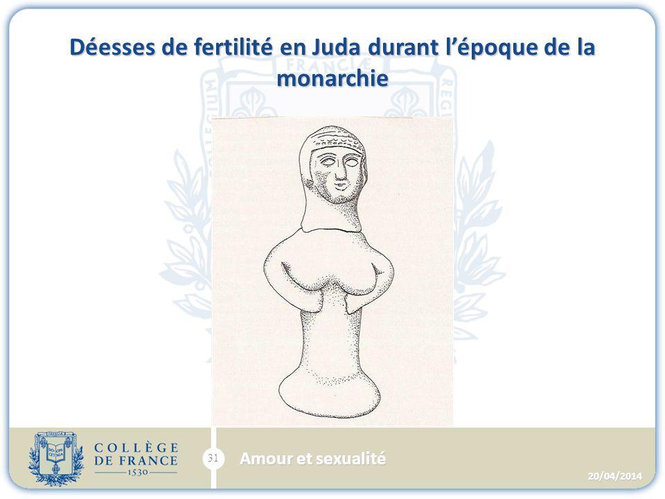 Déesses de fertilité en Juda durant lépoque de la monarchie 20/04/2014 31 Amour et sexualité