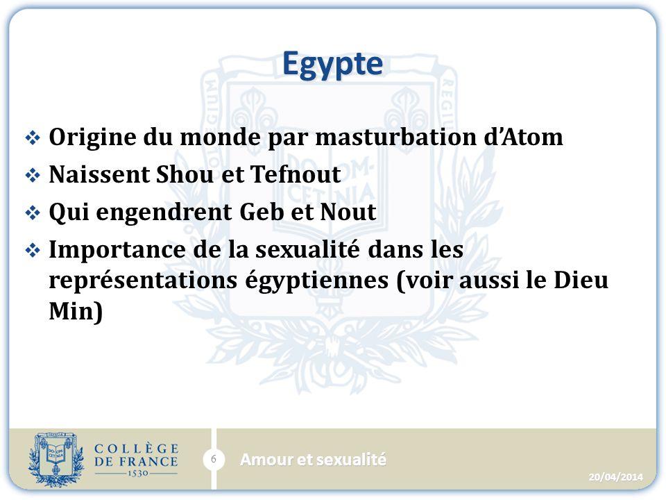 Egypte Origine du monde par masturbation dAtom Naissent Shou et Tefnout Qui engendrent Geb et Nout Importance de la sexualité dans les représentations égyptiennes (voir aussi le Dieu Min) 20/04/2014 6 Amour et sexualité