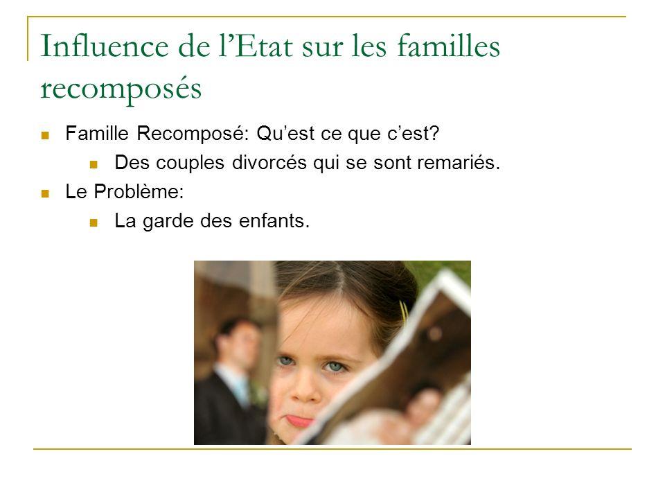 Influence de lEtat sur les familles recomposés Famille Recomposé: Quest ce que cest.