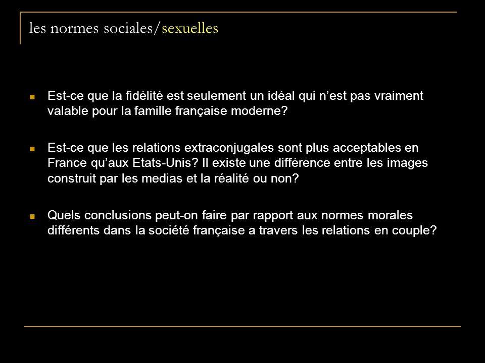 les normes sociales/sexuelles Est-ce que la fidélité est seulement un idéal qui nest pas vraiment valable pour la famille française moderne.