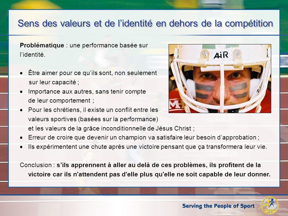 Sens des valeurs et de lidentité en dehors de la compétition Problématique : une performance basée sur lidentité.