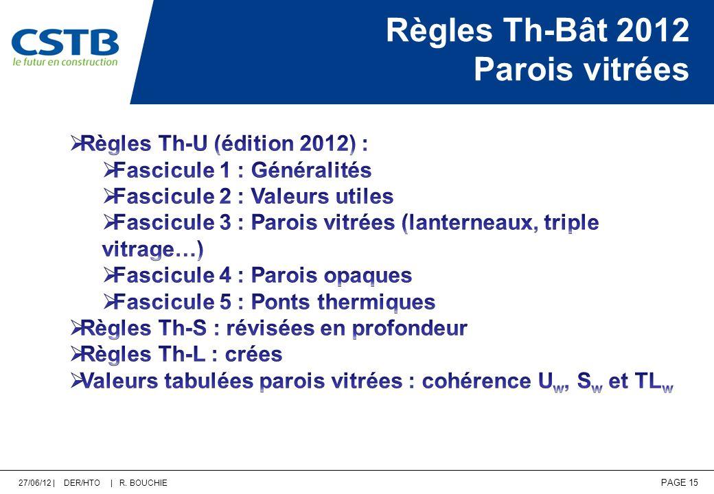 27/06/12 | DER/HTO | R. BOUCHIE PAGE 15 Règles Th-Bât 2012 Parois vitrées