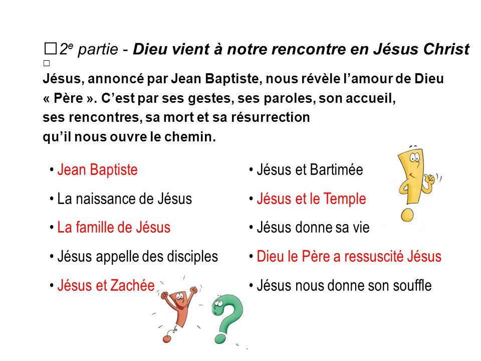2 e partie - Dieu vient à notre rencontre en Jésus Christ Jésus, annoncé par Jean Baptiste, nous révèle lamour de Dieu « Père ».