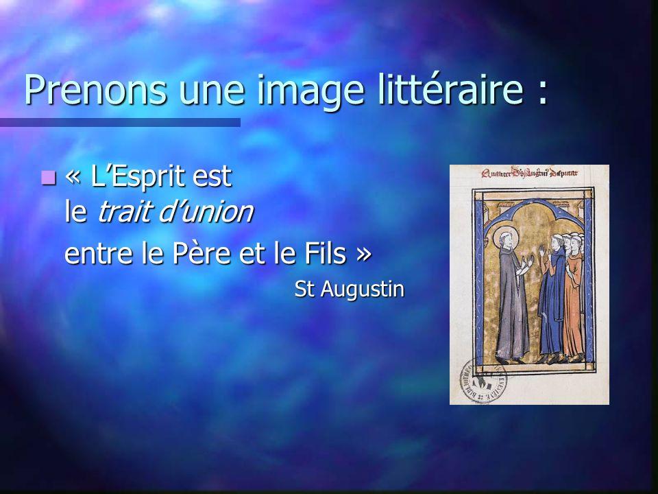 Prenons une image littéraire : « LEsprit est le trait dunion « LEsprit est le trait dunion entre le Père et le Fils » St Augustin
