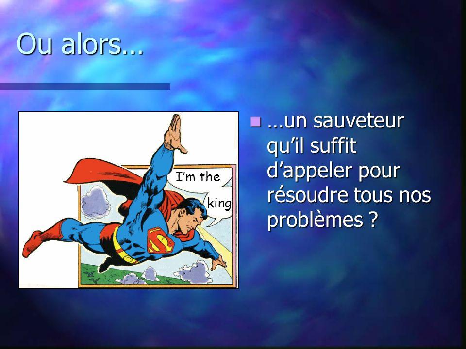 Ou alors… …un sauveteur quil suffit dappeler pour résoudre tous nos problèmes .