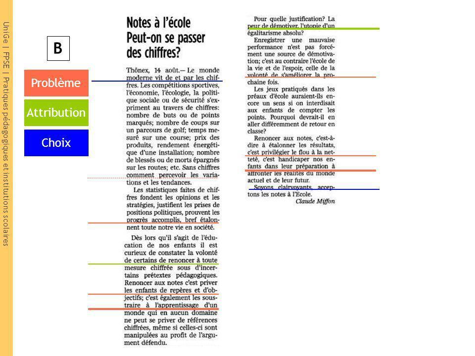UniGe | FPSE | Pratiques pédagogiques et institutions scolaires Problème Attribution Choix B