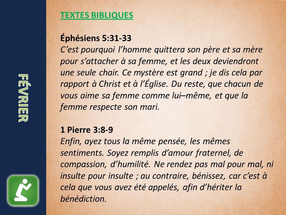 TEXTES BIBLIQUES Éphésiens 5:31-33 Cest pourquoi lhomme quittera son père et sa mère pour sattacher à sa femme, et les deux deviendront une seule chair.