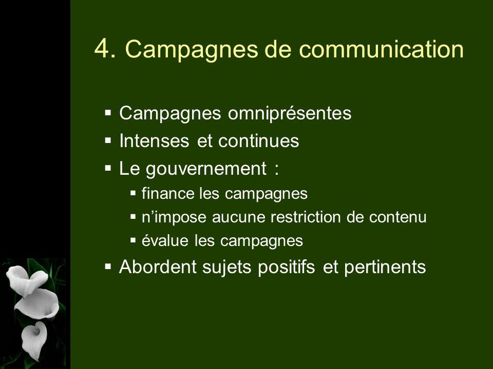 4. Campagnes de communication Campagnes omniprésentes Intenses et continues Le gouvernement : finance les campagnes nimpose aucune restriction de cont