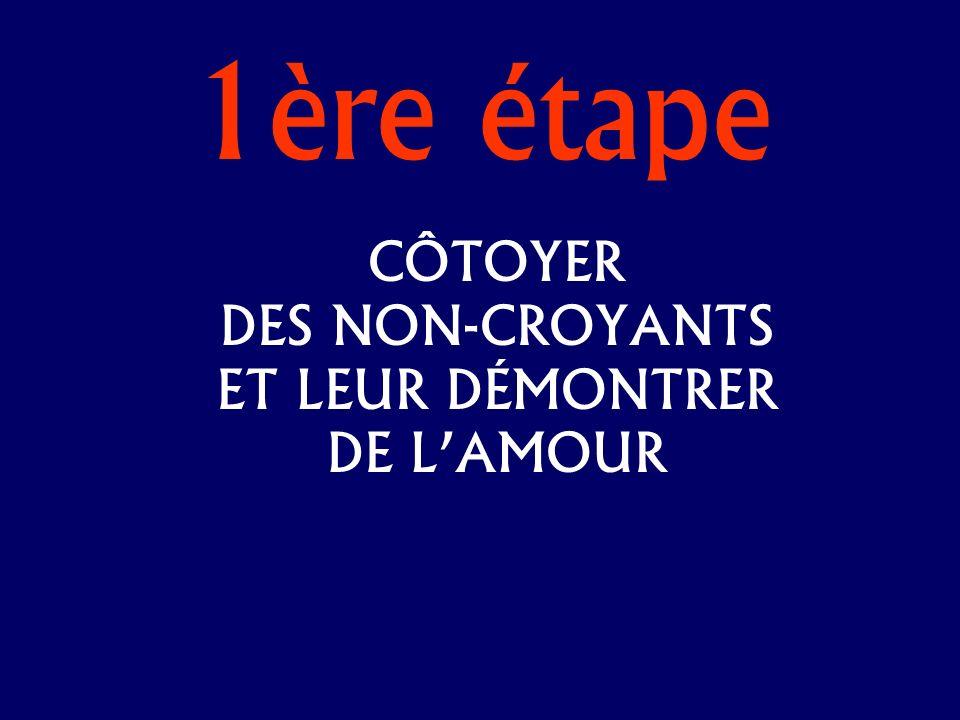 1ère étape CÔTOYER DES NON-CROYANTS ET LEUR DÉMONTRER DE LAMOUR