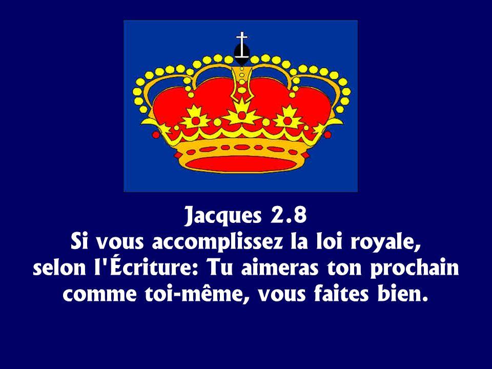 Jacques 2.8 Si vous accomplissez la loi royale, selon l'Écriture: Tu aimeras ton prochain comme toi-même, vous faites bien.