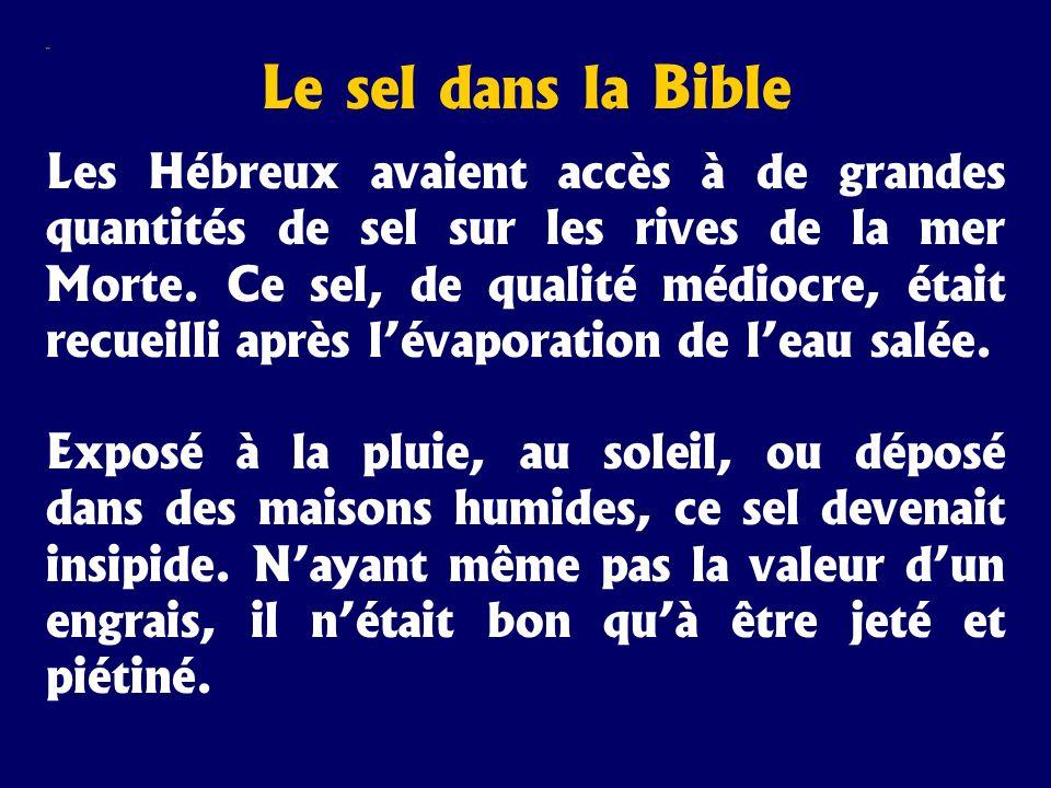 Sel Le sel dans la Bible Les Hébreux avaient accès à de grandes quantités de sel sur les rives de la mer Morte. Ce sel, de qualité médiocre, était rec