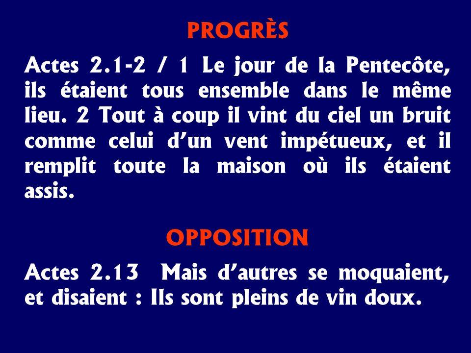 OPPOSITION Actes 2.13 Mais dautres se moquaient, et disaient : Ils sont pleins de vin doux. PROGRÈS Actes 2.1-2 / 1 Le jour de la Pentecôte, ils étaie