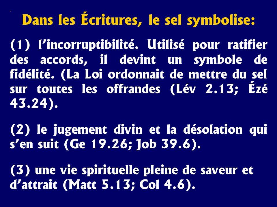 Sel Dans les Écritures, le sel symbolise: (1) lincorruptibilité. Utilisé pour ratifier des accords, il devint un symbole de fidélité. (La Loi ordonnai