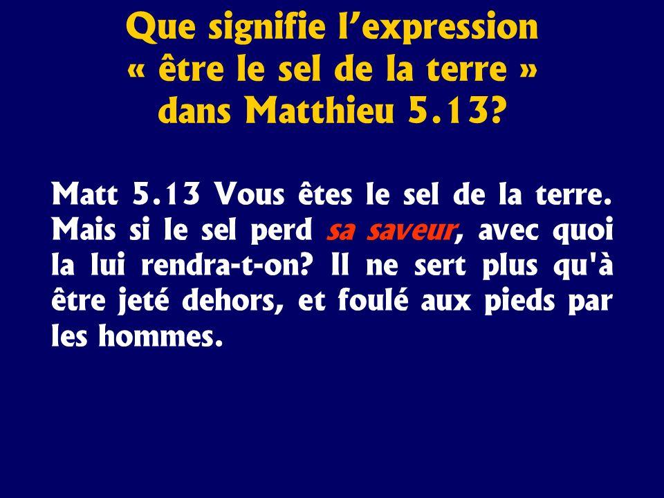 Matt 5.13 Vous êtes le sel de la terre. Mais si le sel perd sa saveur, avec quoi la lui rendra-t-on? Il ne sert plus qu'à être jeté dehors, et foulé a
