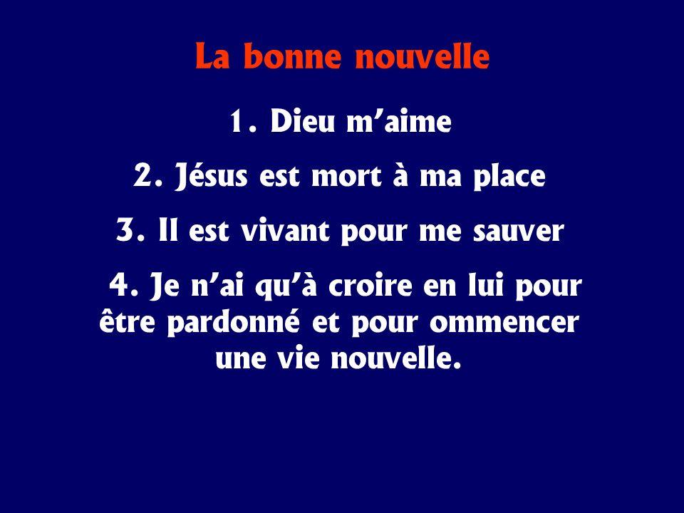 La bonne nouvelle 1. Dieu maime 2. Jésus est mort à ma place 3. Il est vivant pour me sauver 4. Je nai quà croire en lui pour être pardonné et pour om