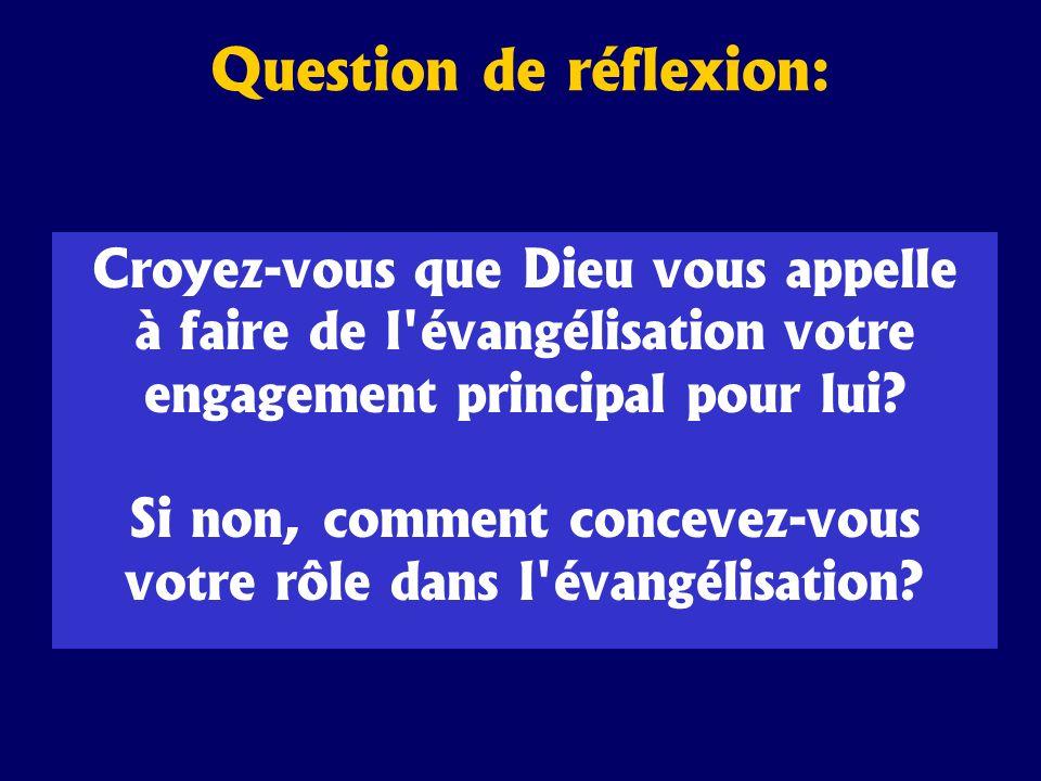 Croyez-vous que Dieu vous appelle à faire de l'évangélisation votre engagement principal pour lui? Si non, comment concevez-vous votre rôle dans l'éva