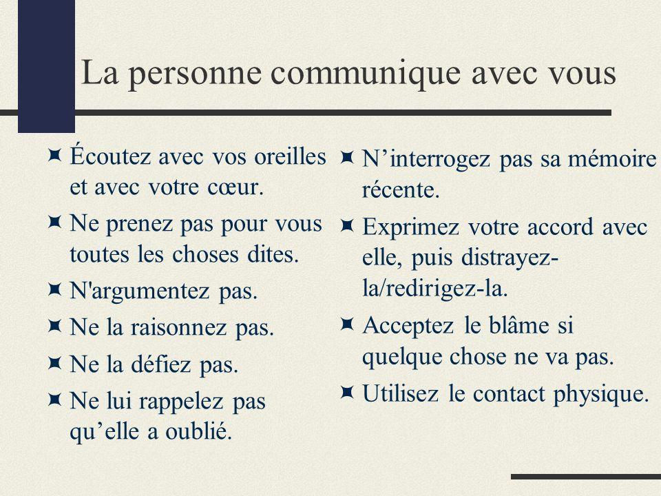 Vous communiquez avec la personne Face à face.Contact visuel.