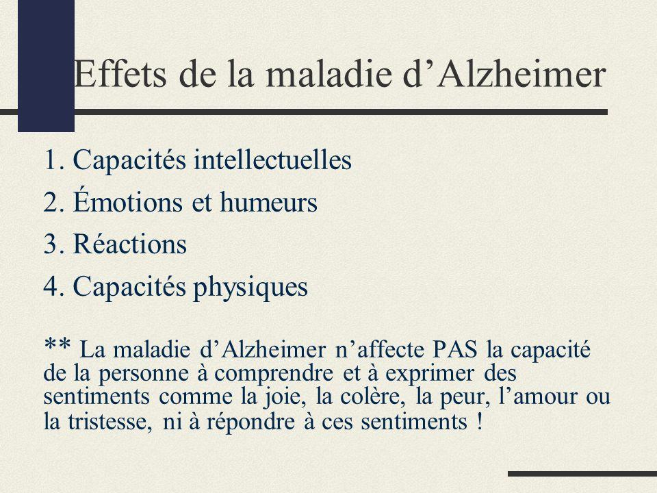 Effets de la maladie dAlzheimer 1. Capacités intellectuelles 2.