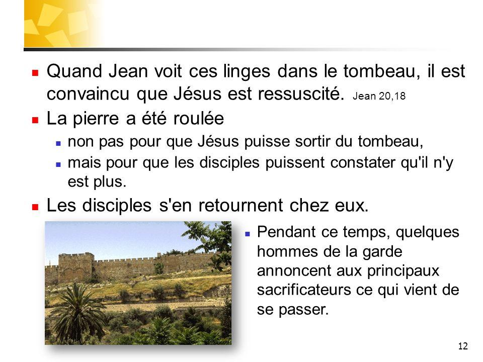 12 Quand Jean voit ces linges dans le tombeau, il est convaincu que Jésus est ressuscité.