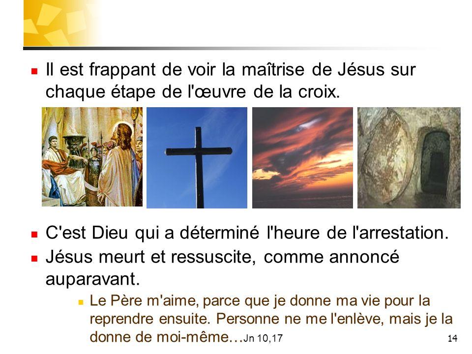 14 Il est frappant de voir la maîtrise de Jésus sur chaque étape de l œuvre de la croix.
