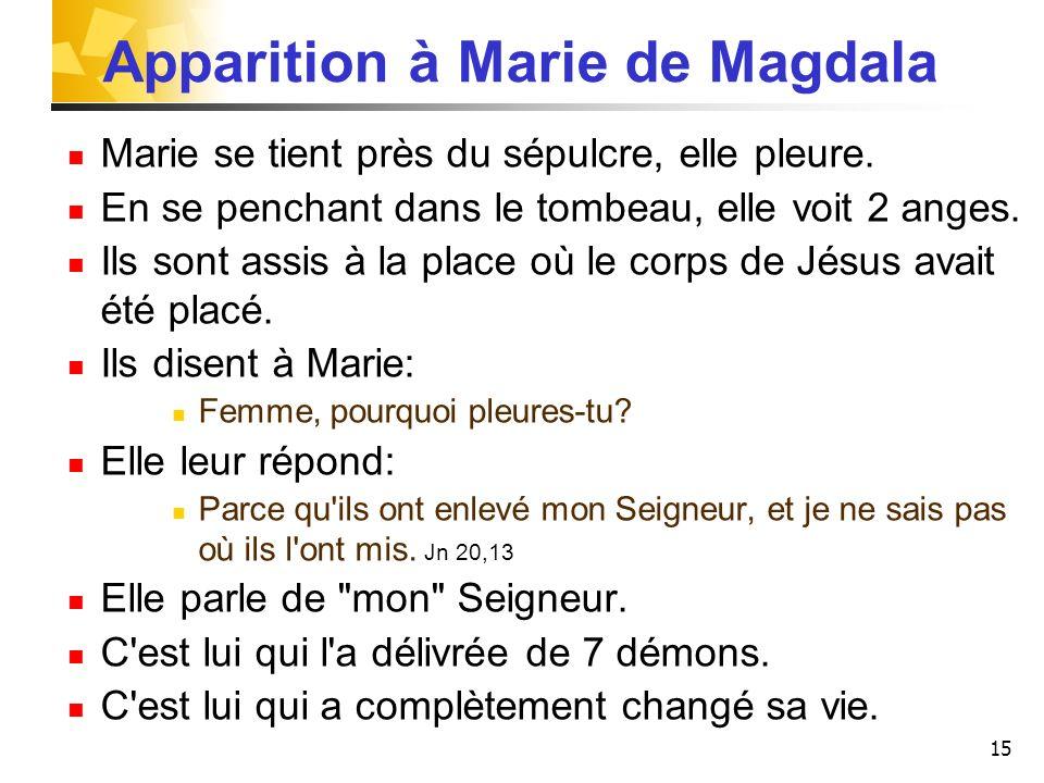 15 Apparition à Marie de Magdala Marie se tient près du sépulcre, elle pleure.