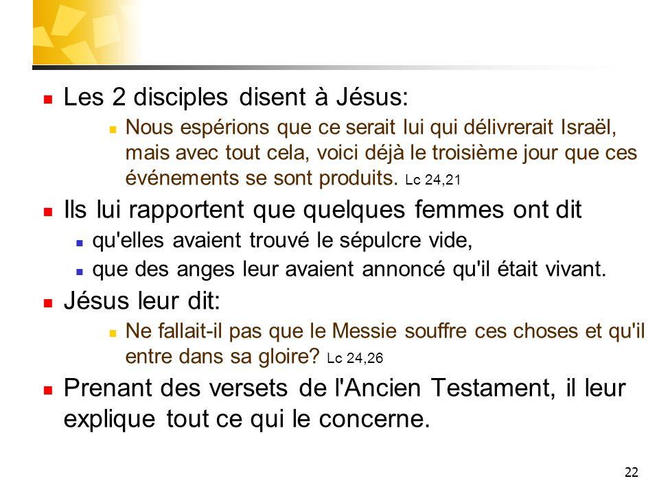 22 Les 2 disciples disent à Jésus: Nous espérions que ce serait lui qui délivrerait Israël, mais avec tout cela, voici déjà le troisième jour que ces événements se sont produits.
