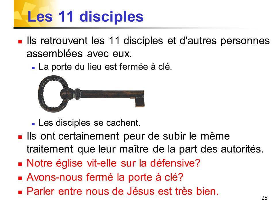 25 Les 11 disciples Ils retrouvent les 11 disciples et d autres personnes assemblées avec eux.