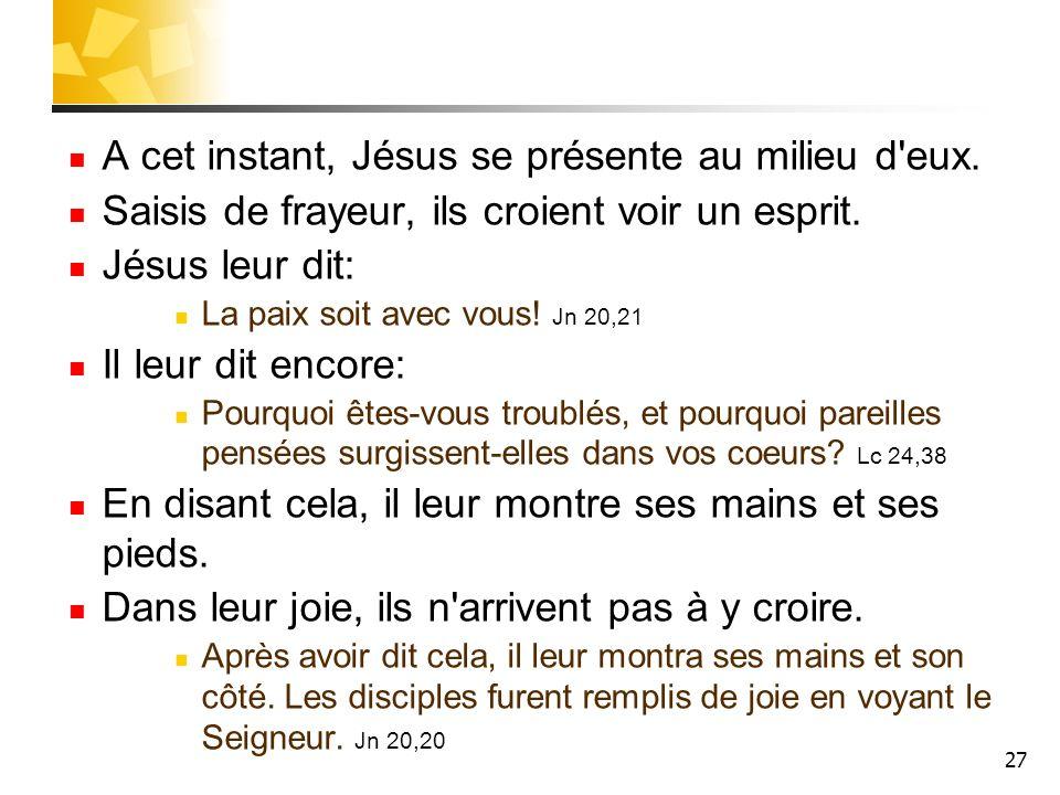 27 A cet instant, Jésus se présente au milieu d eux.