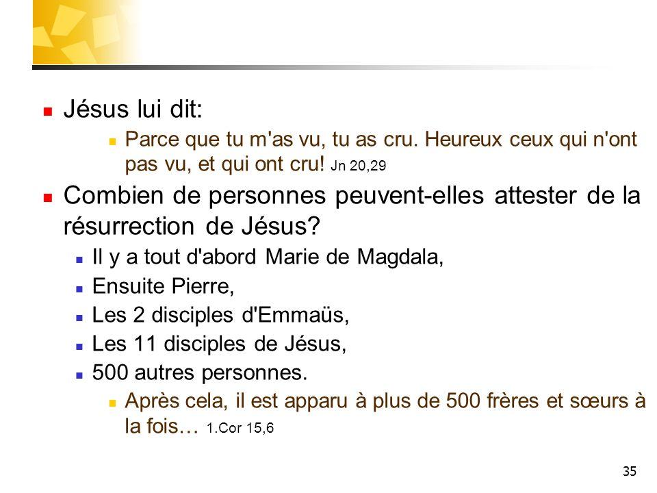 35 Jésus lui dit: Parce que tu m as vu, tu as cru.