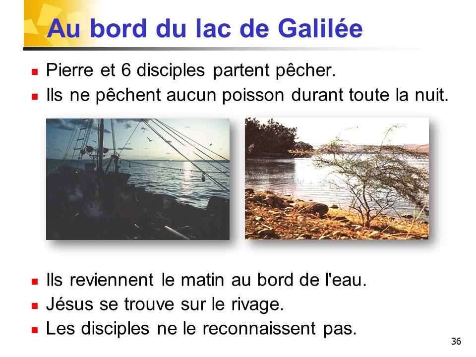 36 Au bord du lac de Galilée Pierre et 6 disciples partent pêcher.