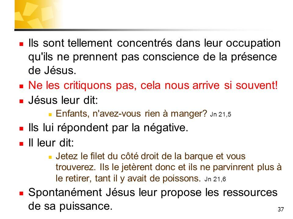 37 Ils sont tellement concentrés dans leur occupation qu ils ne prennent pas conscience de la présence de Jésus.