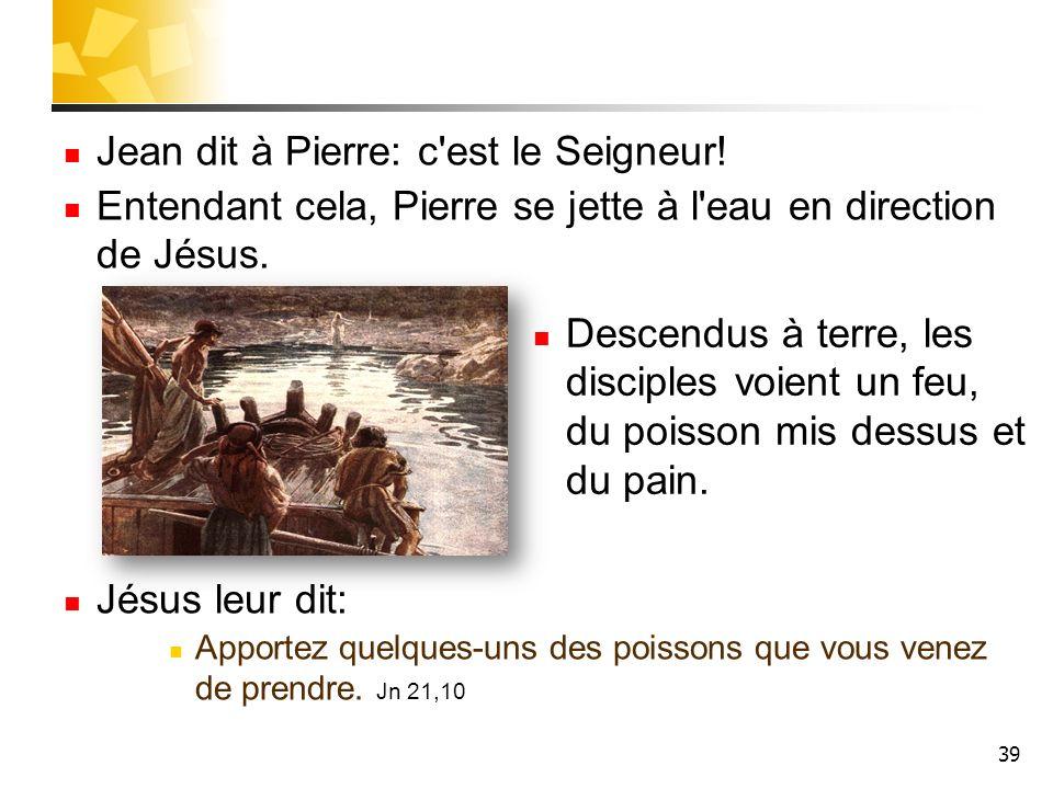 39 Jean dit à Pierre: c est le Seigneur.