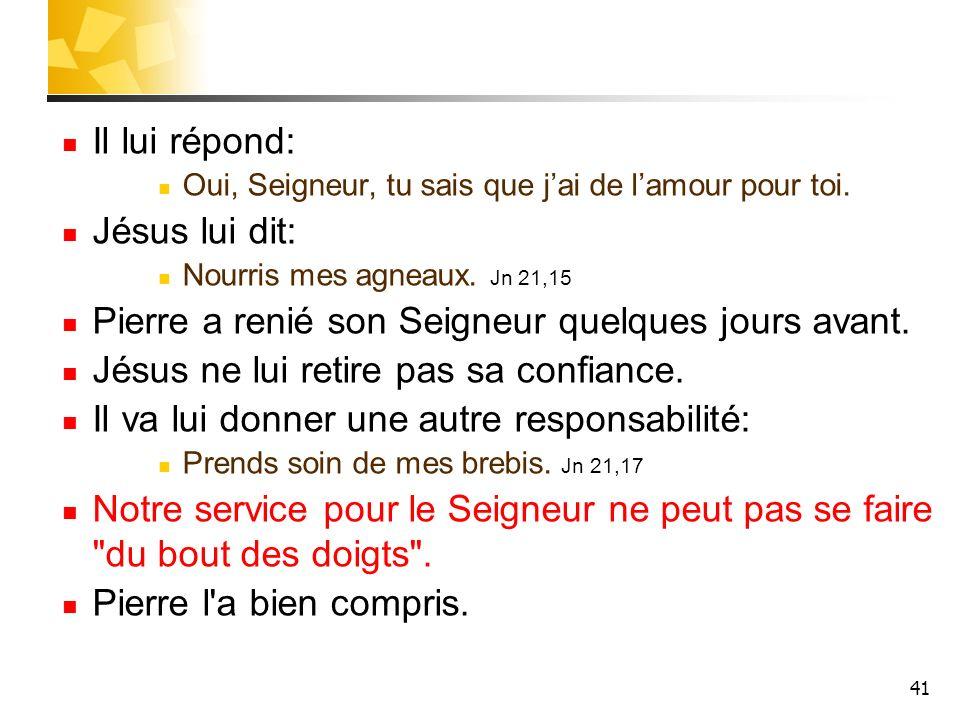 41 Il lui répond: Oui, Seigneur, tu sais que jai de lamour pour toi.
