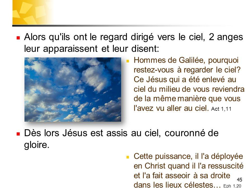 45 Alors qu ils ont le regard dirigé vers le ciel, 2 anges leur apparaissent et leur disent: Hommes de Galilée, pourquoi restez-vous à regarder le ciel.