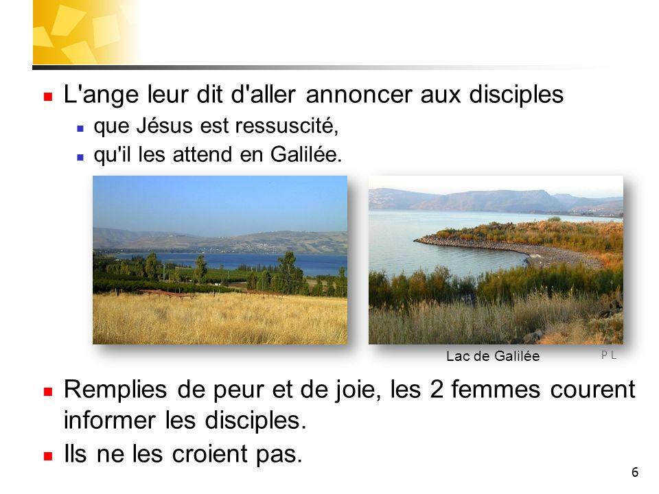 6 L ange leur dit d aller annoncer aux disciples que Jésus est ressuscité, qu il les attend en Galilée.
