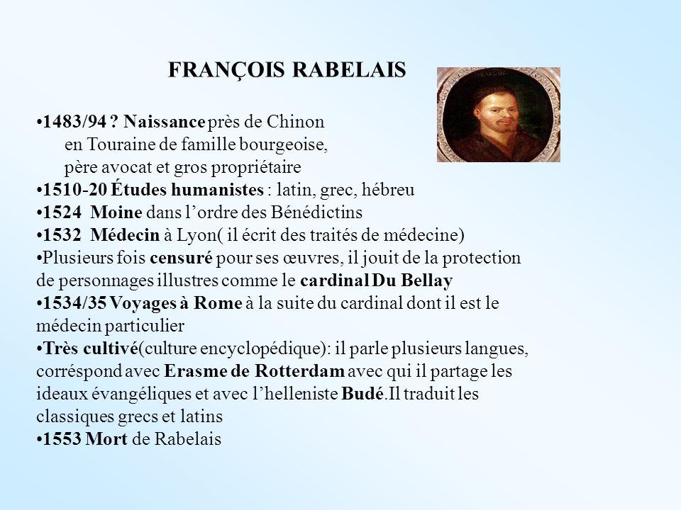 FRANÇOIS RABELAIS 1483/94 ? Naissance près de Chinon en Touraine de famille bourgeoise, père avocat et gros propriétaire 1510-20 Études humanistes : l