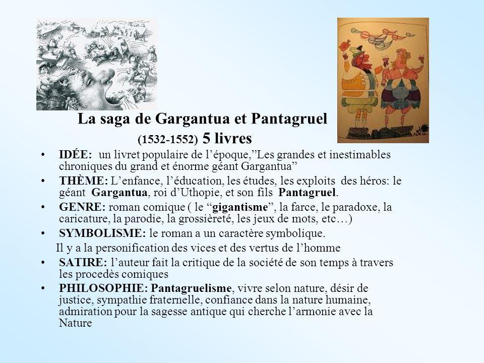 La saga de Gargantua et Pantagruel (1532-1552) 5 livres IDÉE: un livret populaire de lépoque,Les grandes et inestimables chroniques du grand et énorme