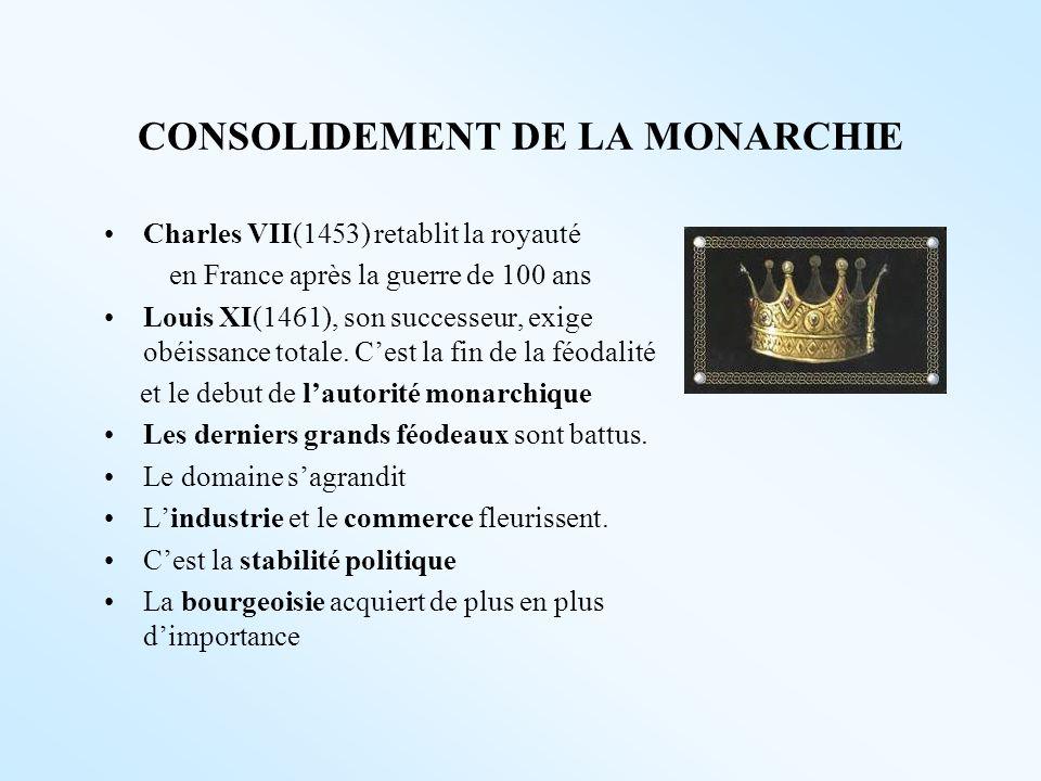 CONSOLIDEMENT DE LA MONARCHIE Charles VII(1453) retablit la royauté en France après la guerre de 100 ans Louis XI(1461), son successeur, exige obéissa