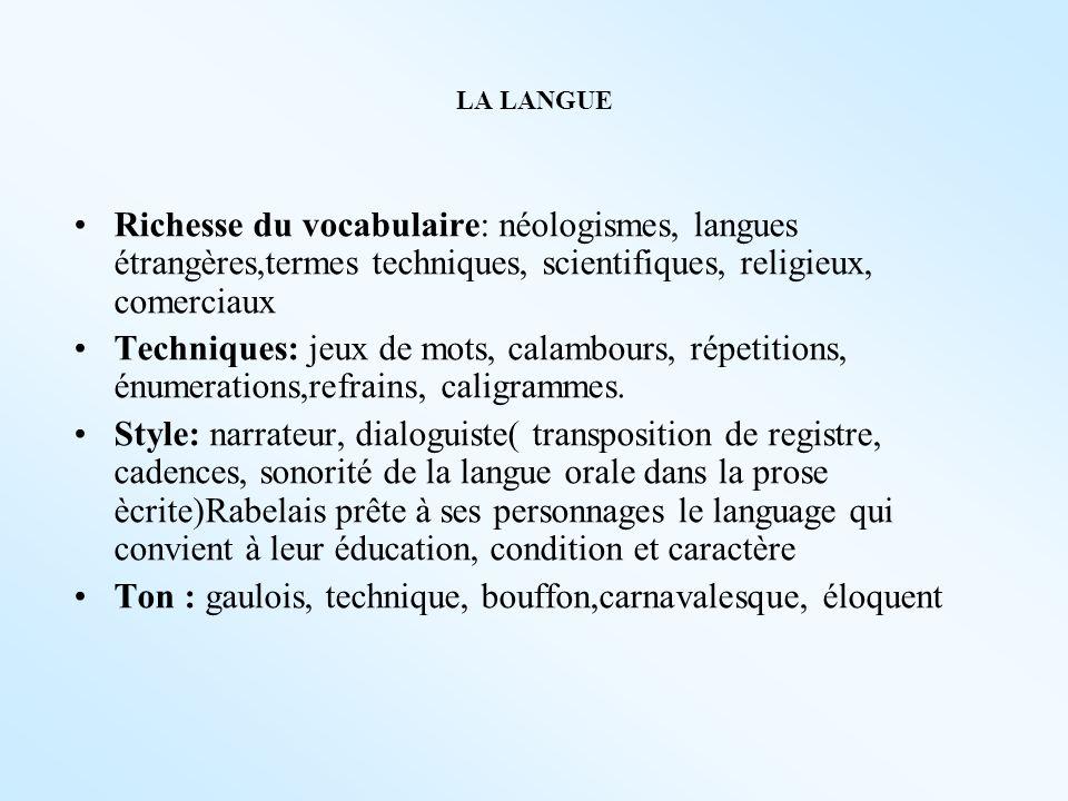 LA LANGUE Richesse du vocabulaire: néologismes, langues étrangères,termes techniques, scientifiques, religieux, comerciaux Techniques: jeux de mots, c